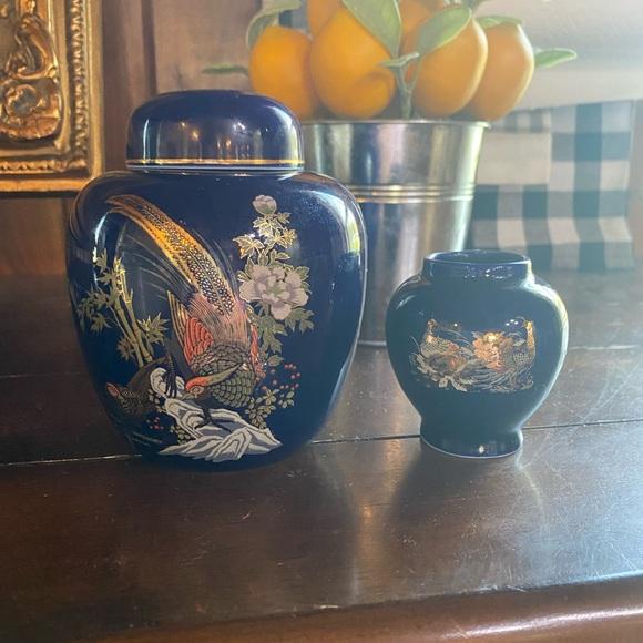 Vintage cobalt blue oriental finger jar and vase
